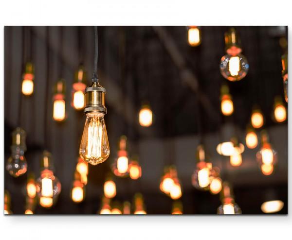 Vintage – Glühbirnen von der Decke hängend - Leinwandbild