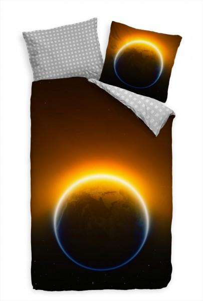 Erde Weltall Sonne Nacht Bettwäsche Set 135x200 cm + 80x80cm Atmungsaktiv