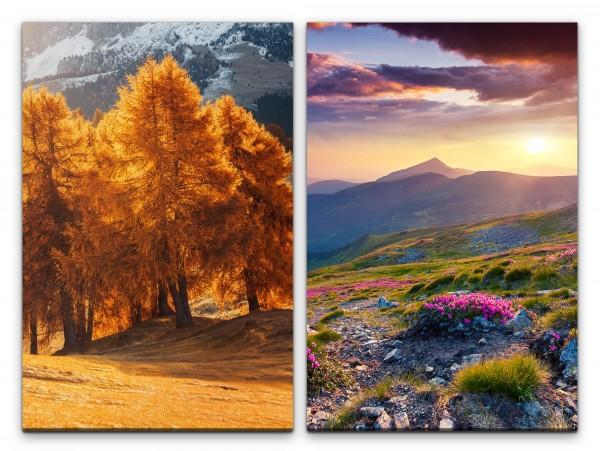 2 Bilder je 60x90cm Berglandschaft Bäume Berge Wolken Sonnenuntergang Frühling Stille