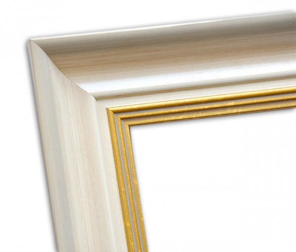 Elegant Klassischer Echtholzrahmen Beige und mit Gold patiniert
