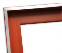 Echtholz Schattenfugenrahmen in rot mit Silberkante