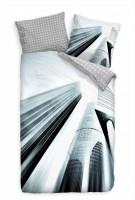 Abstrakt Hochhaus Unscharf Bettwäsche Set 135x200 cm + 80x80cm  Atmungsaktiv