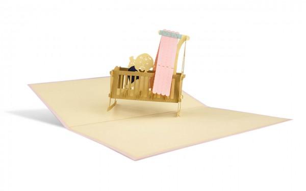Kinderwiege rosa Grußkarte Größe: 12x18cm
