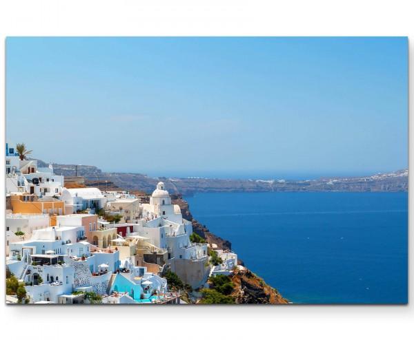 Griechenland – weiße Häuser an der Felswand - Leinwandbild