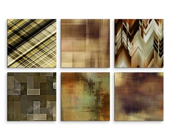6 teiliges Leinwandbild je 30x30cm - Abstrakt Muster Erdtöne Brauntöne Kunst