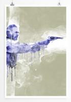 Clint Eastwood 90x60cm Paul Sinus Art Splash Art Wandbild als Poster ohne Rahmen gerollt