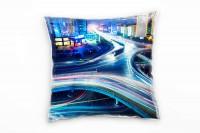 Urban und City, blau, Lichtlinien, Autos, Nacht Deko Kissen 40x40cm für Couch Sofa Lounge Zierkissen