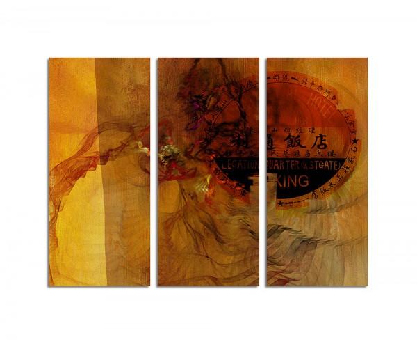 130x90cm Wandbild Abstrakt182 -3x90x40cm