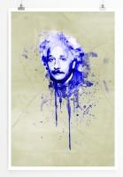 Albert Einstein 90x60cm Paul Sinus Art Splash Art Wandbild als Poster ohne Rahmen gerollt