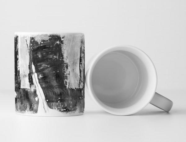 Tasse Geschenk dunkelgrau, hellgraue Abstraktion