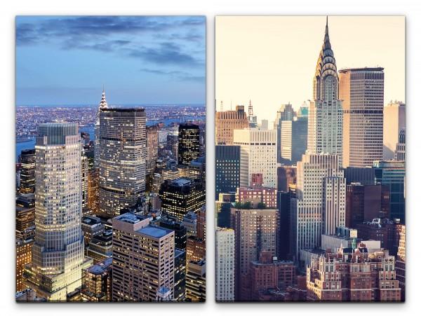 2 Bilder je 60x90cm New York Manhattan USA Wolkenkratzer Skyline Mega City Großstadt
