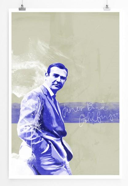 James Bond Goldfinger 90x60cm Paul Sinus Art Splash Art Wandbild als Poster ohne Rahmen gerollt