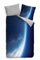 Erdtrabant Blau Weltall Bettwäsche Set 135x200 cm + 80x80cm  Atmungsaktiv