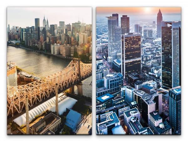 2 Bilder je 60x90cm New York Manhattan Wolkenkratzer Mega City Architektur USA Großstadt