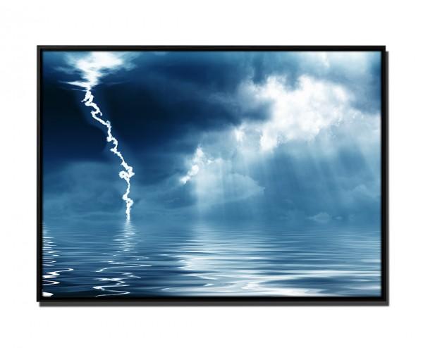 105x75cm Leinwandbild Petrol Gewitter und Sonnenschein