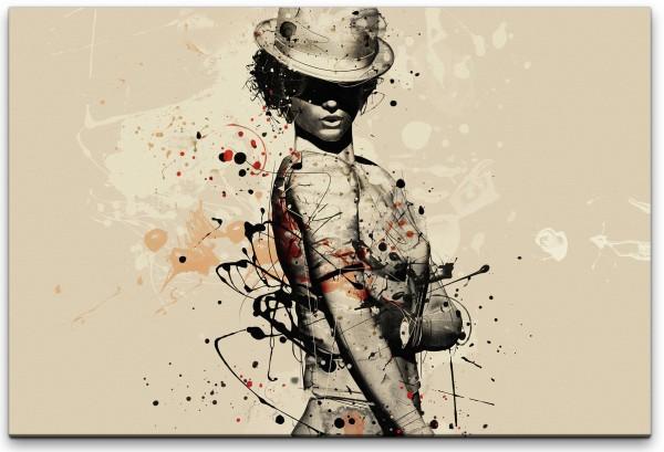 Frau an einer Wand Wandbild in verschiedenen Größen