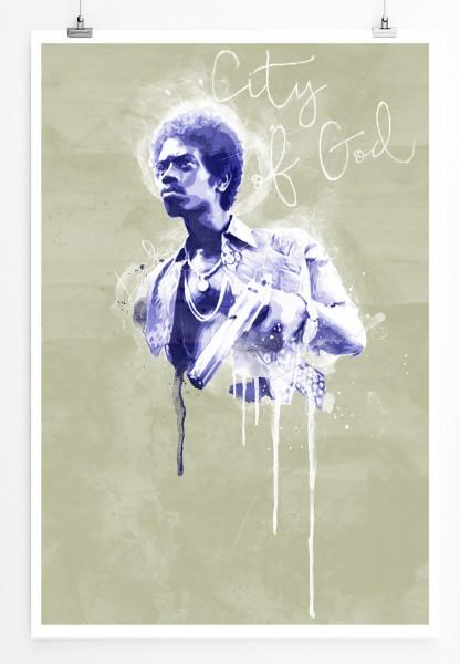 City of God Locke 90x60cm Paul Sinus Art Splash Art Wandbild als Poster ohne Rahmen gerollt