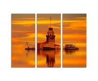 130x90cm Istanbul Leanderturm goldroter Sonnenuntergang