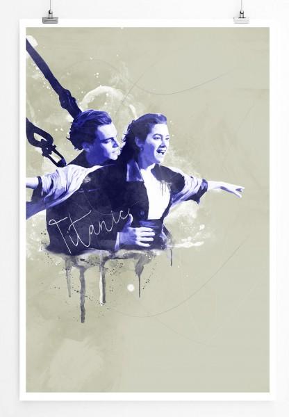 Titanic 90x60cm Paul Sinus Art Splash Art Wandbild als Poster ohne Rahmen gerollt