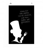 Poster in 60x90cm - Wovon ich mir immer zu viel mache, sind Reis, Nudeln und Gedanken.