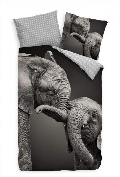 Elefanten Schwarz Weiss Portrait Bettwäsche Set 135x200 cm + 80x80cm Atmungsaktiv