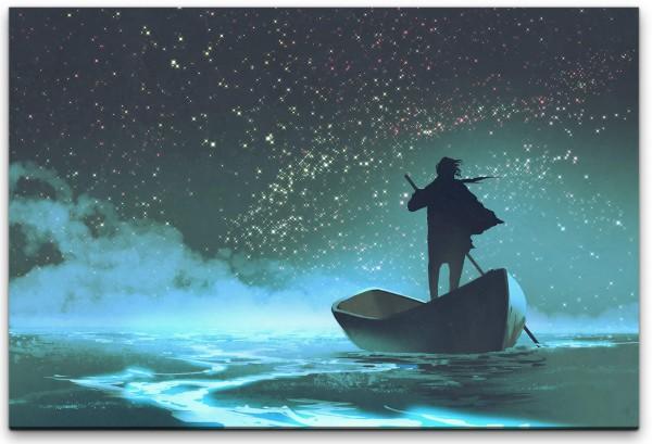 Mann im Boot Wandbild in verschiedenen Größen