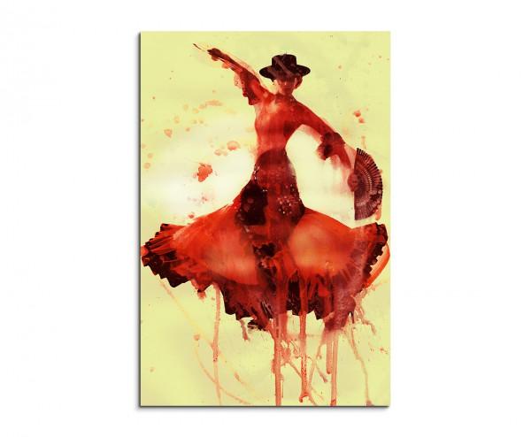 Flamenco Dancer 90x60cm  Aquarell Art Leinwandbild
