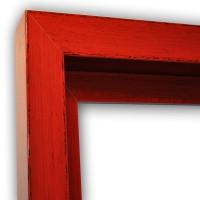 Echtholz Schattenfugenrahmen in rot mit schwarzer fließender Maserung