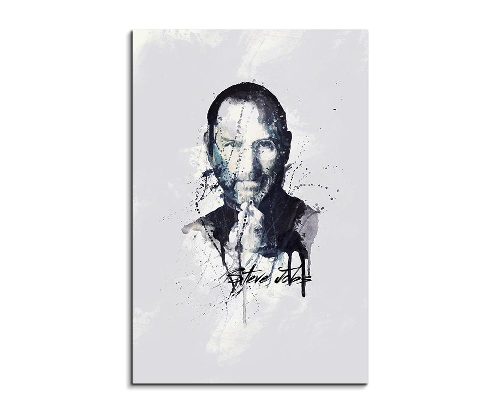 Steve Jobs 90x60cm Aquarell Art Wandbild auf Leinwand fertig gerahmt ...
