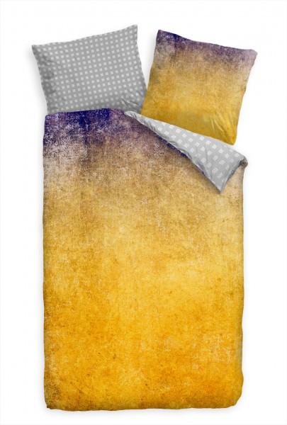 Abstrakt Wall Gelb Kunst Bettwäsche Set 135x200 cm + 80x80cm Atmungsaktiv