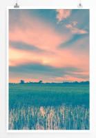 60x90cm Poster Landschaftsfotografie – Reisfelder und Berge