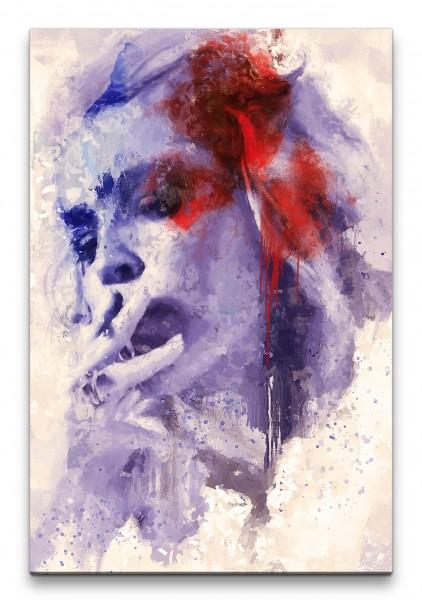 Sharon Stone Porträt Abstrakt Kunst Schauspielerin Zigarette 60x90cm Leinwandbild