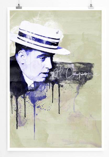 Al Capone II 90x60cm Paul Sinus Art Splash Art Wandbild als Poster ohne Rahmen gerollt