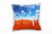 Wüste, blau, orange, Bergkette, USA Deko Kissen 40x40cm für Couch Sofa Lounge Zierkissen