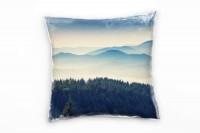 Landschaft, grün, blau, Berge im Nebel, Ukraine Deko Kissen 40x40cm für Couch Sofa Lounge Zierkissen
