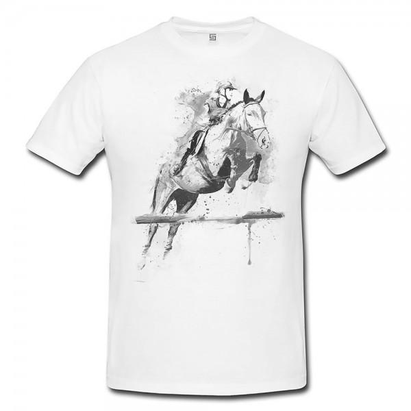Reitsport Herren und Damen T-Shirt BLACK-WHITE