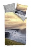 Wasserfall Island Landschaft Bettwäsche Set 135x200 cm + 80x80cm  Atmungsaktiv