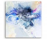 Schwimmende Seeschildkröte in Blautönen mit Kalligraphie