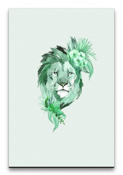 Löwe Afrika Savanne Wasserfarben Kunstvoll Blumen Dekorativ Grün