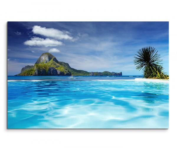 120x80cm Wandbild Philippinen Meer Strand Palme Fels