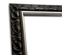 Eklusiver Echtholzrahmen braun Silberkante Stuck Antik