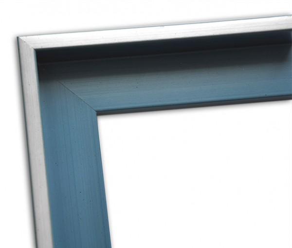 Echtholz Schattenfugenrahmen in blau mit Silberkante