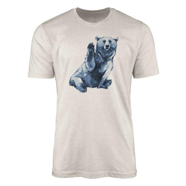 Herren Shirt 100% gekämmte Bio-Baumwolle T-Shirt Aquarell Bär Motiv Nachhaltig Ökomode aus erneuerb