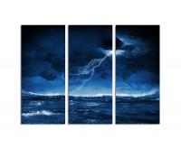 130x90cm Nacht stürmische See Gewitter Blitz