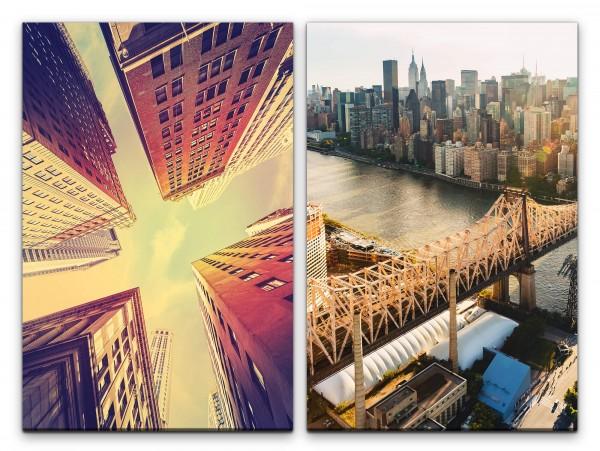 2 Bilder je 60x90cm New York Manhattan Fluss Wolkenkratzer Skyline USA Mega City