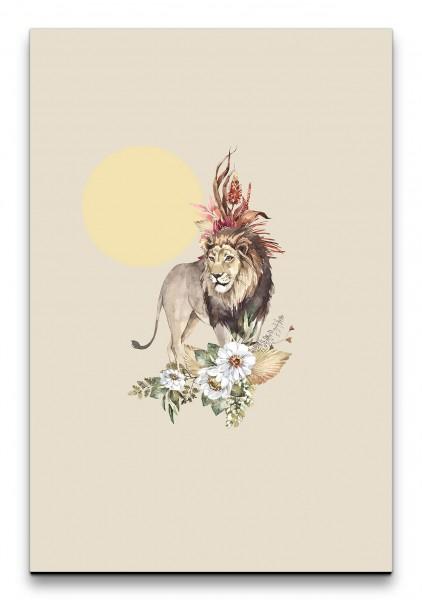 Löwe Afrika Savanne Wasserfarben Sonne Blumen Dekorativ