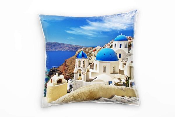 City, weiß, blau, braun, Santorini, Griechenland Deko Kissen 40x40cm für Couch Sofa Lounge Zierkisse