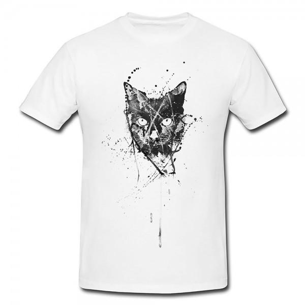 Cat Herren und Damen T-Shirt BLACK-WHITE