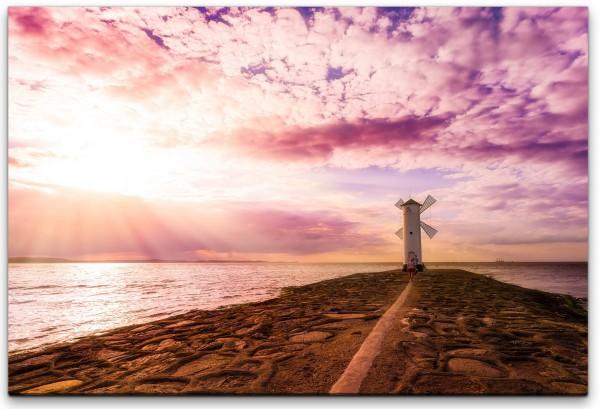 Leuchtturm am Meer Wandbild in verschiedenen Größen
