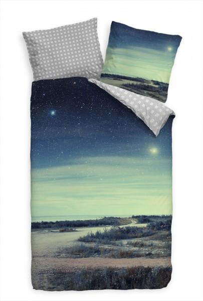 Himmel Strand Grn Blau Mond Bettwäsche Set 135x200 cm + 80x80cm Atmungsaktiv